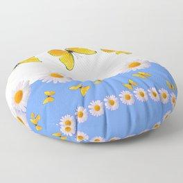 BLUE MODERN ART YELLOW BUTTERFLIES & WHITE DAISIES Floor Pillow