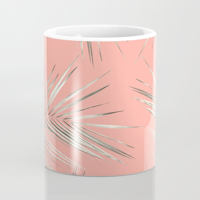 White Gold Palm Leaves on Coral Pink Coffee Mug