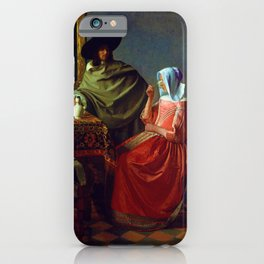 """Johannes Vermeer """"A Lady Drinking and a Gentleman"""" iPhone Case"""