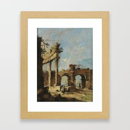 Francesco Guardi A CAPRICCIO OF A RUINED CORINTHIAN COLONNADE AND A DOUBLE-ARCHED GATEWAY WITH GENTL Framed Art Print