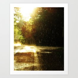Sun in the Rain, Camp Metigoshe Art Print