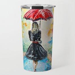 GIRL WITH A RED UMBRELLA Travel Mug