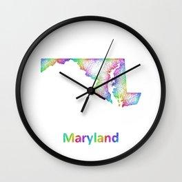 Rainbow Maryland map Wall Clock