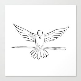 Soaring Dove Clutching Staff Front Drawing Canvas Print