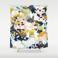 girls Shower Curtains featuring Sloane - Abstract painting in modern fresh colors navy, mint, blush, cream, white, and gold by CharlotteWinter