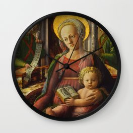 "Fra Filippo Lippi ""Madonna and Child Enthroned with Two Angels"" Wall Clock"