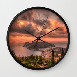 The sunset above village Assos in Kefalonia island, Greece Wall Clock