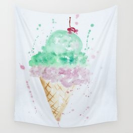 Icecream Summer love Cherry illustration ice cream cone watercolor Wall Tapestry