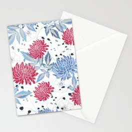 Red & blue hollyhocks Stationery Cards