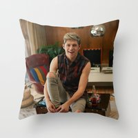 niall horan Throw Pillows featuring Niall Horan by behindthenoise
