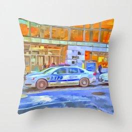 New York Police Department Pop Art Throw Pillow