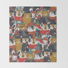 Funky Retro Christmas Animals Throw Blanket
