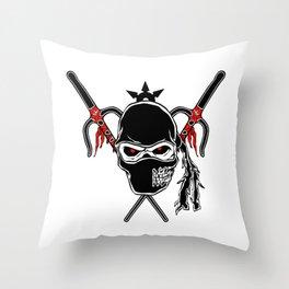 Cartoon Ninja zombie Face Throw Pillow