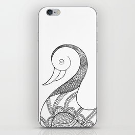 isolated duck line art illustration iPhone Skin