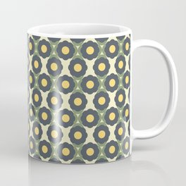 Abstract Retro Minimalist Floral Pattern in Green and Yellow Coffee Mug