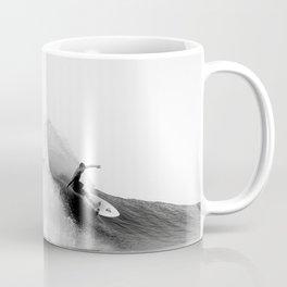 Surfer, Big Wave, Beach Wall Art, Black and White Photograph Coffee Mug