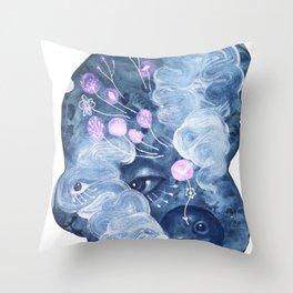 The rabbit mask Throw Pillow