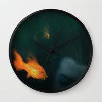 underwater Wall Clocks featuring Underwater by Filip Radulescu