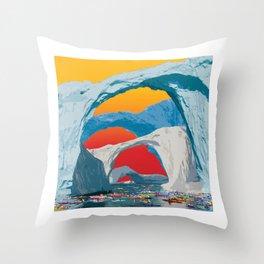 Kayak Race Through Ice Arches Throw Pillow