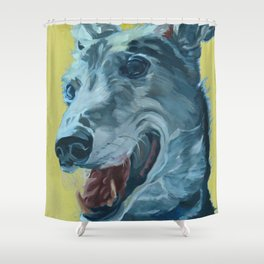 Dilly the Greyhound Portrait Shower Curtain