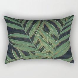 Trendy Green Palm Leaves Gold Strokes Gray Design Rectangular Pillow