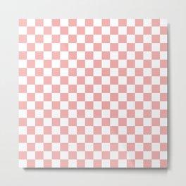 Large Lush Blush Pink and White Checkerboard Squares Metal Print