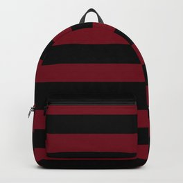 Crimson Burundy Red and Pure Black Stripes Backpack