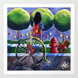 Riding Grandma's Antique Bike Bicycle Trees Fire Hydrant Dog Street Flowers Sidewalk Series Cowboy Art Print