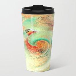 Green orange yellow colors watercolor effect brushstrokes texture illustration Metal Travel Mug