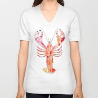 lobster V-neck T-shirts featuring Lobster by fossilized