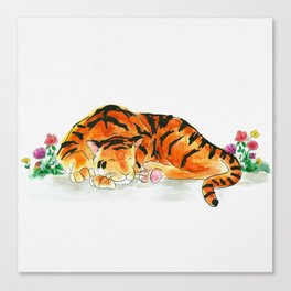Sleeping tiger watercolor Canvas Print