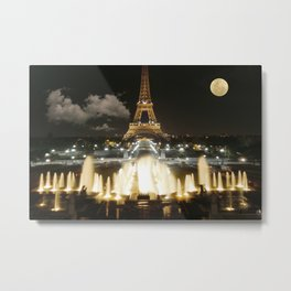 Eiffel Tower at Night Metal Print