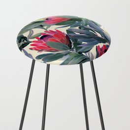 Painted Protea Pattern Counter Stool