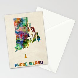 Rhode Island Watercolor Map Stationery Cards