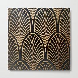 Art nouveau Black,bronze,gold,art deco,vintage,elegant,chic,belle époque Metal Print
