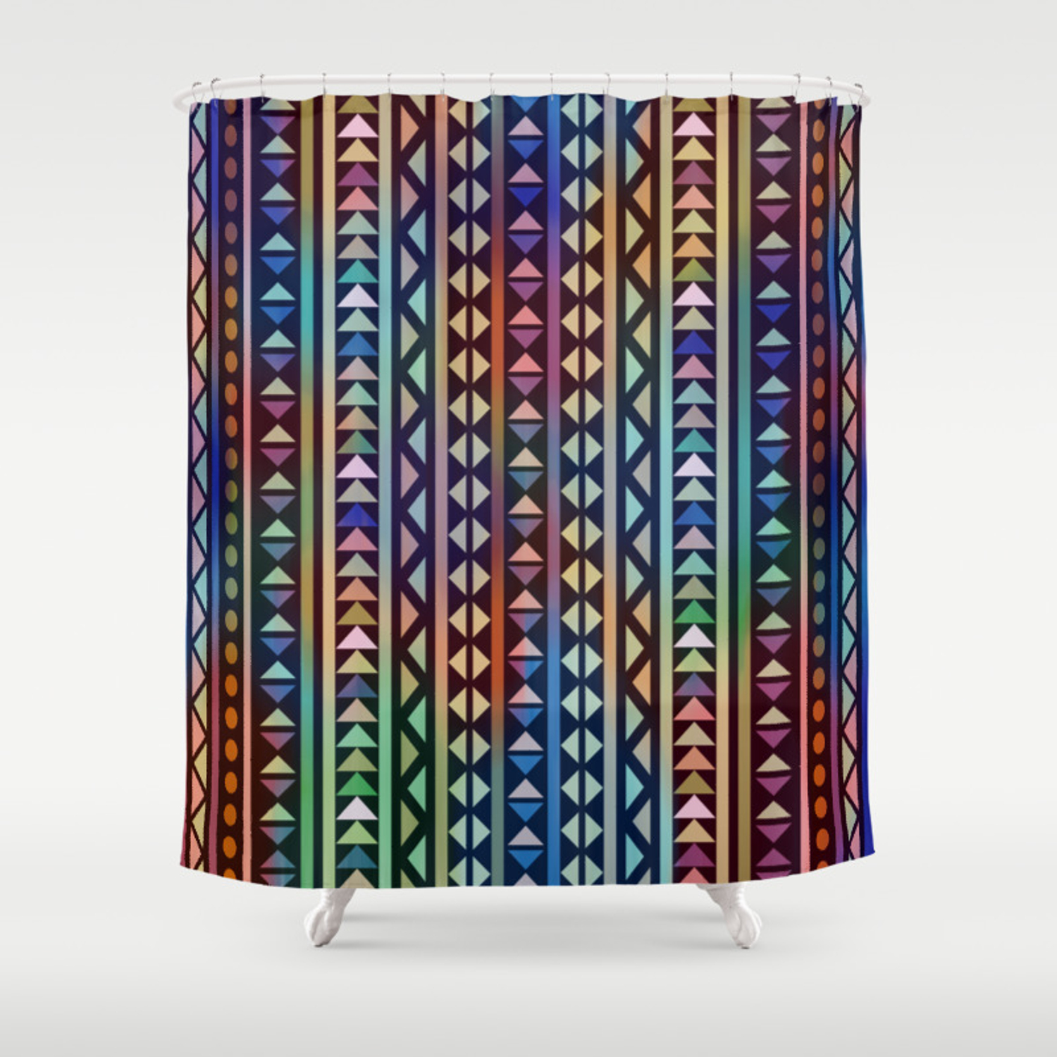 Colorful Tribal Stripes And Triangles Pattern Shower Curtain