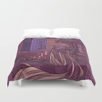 hallion Duvet Covers featuring You Comin' Blondie?  by Karen Hallion Illustrations
