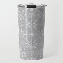 Snowflakes on Gray Travel Mug