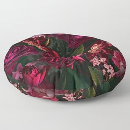 Vintage & Shabby Chic - Night Botanical Flower Roses Garden Floor Pillow