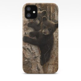 Black Bear Cubs - Curious Cubs iPhone Case
