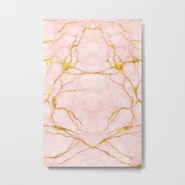 Pink and Gold Marble Metal Print