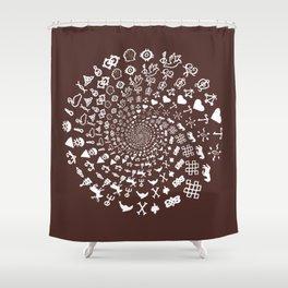 For the Love of Chocolate: Love Symbols Mandala Shower Curtain