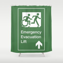 Accessible Means of Egress Icon, Emergency Evacuation Lift / Elevator Sign Shower Curtain