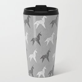 Origami Unicorn Grey Travel Mug