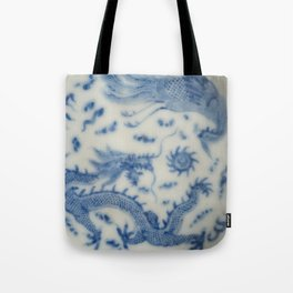 Damask vintage Monaco blue white girly ginger jar floral antique chinese dragon chinoiserie china Tote Bag