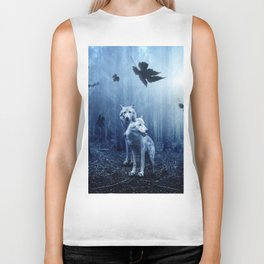 Wolfs in the blue forest Biker Tank