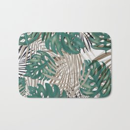 Tropical Leaves Nature Print Palm Fronds Bath Mat