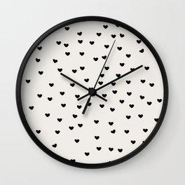 Lots of Little Hearts Brush Strokes Pattern Wall Clock