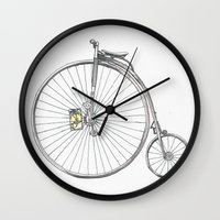 bicycle Wall Clocks featuring Bicycle by Michelle Krasny
