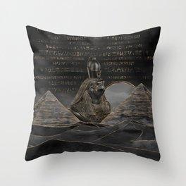Horus on Egyptian pyramids landscape Throw Pillow